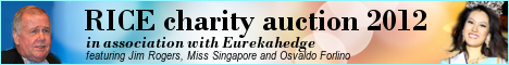 Banner of RICE Charity Auction 2012 at the Eurekahedge Asian hedge fund awards 2012