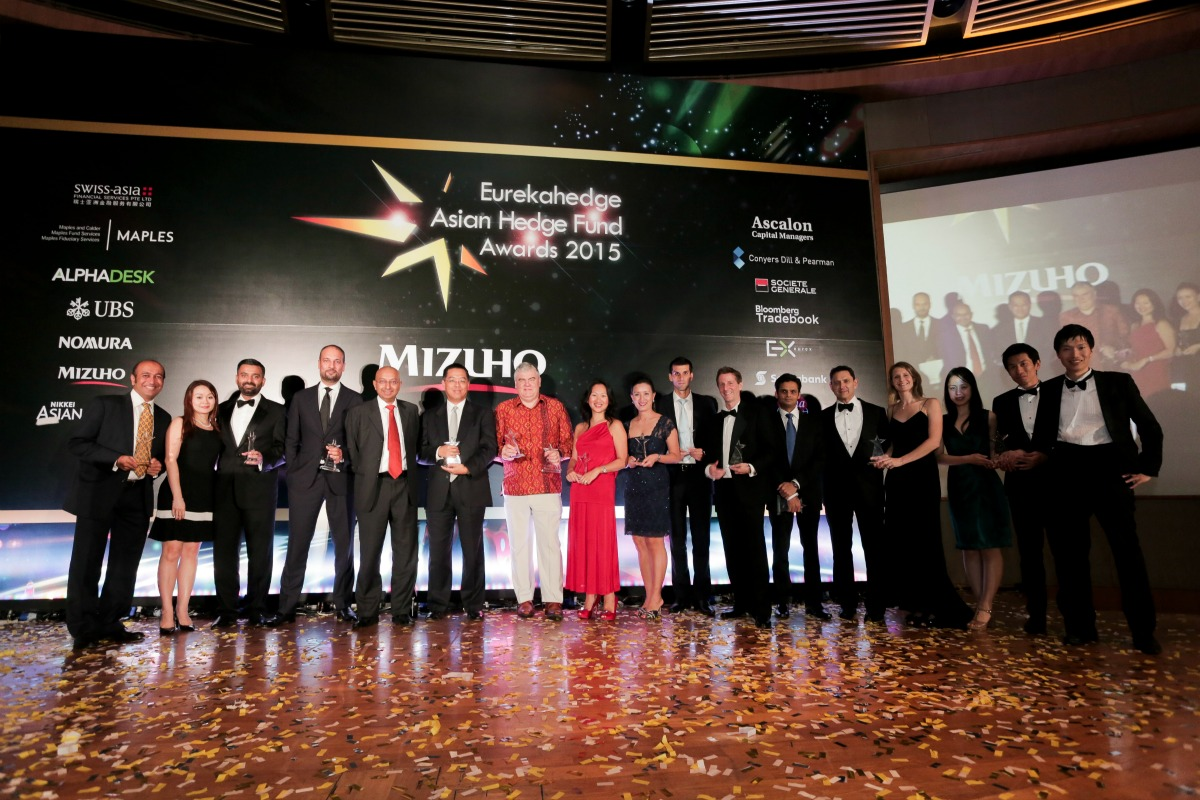picture of all winners at the Eurekahedge Asian Hedge Fund Awards 2015