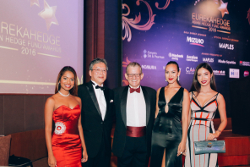 Miss Universe Singapore girls pose for a picture at the Eurekahedge Asian Hedge Fund Awards 2016