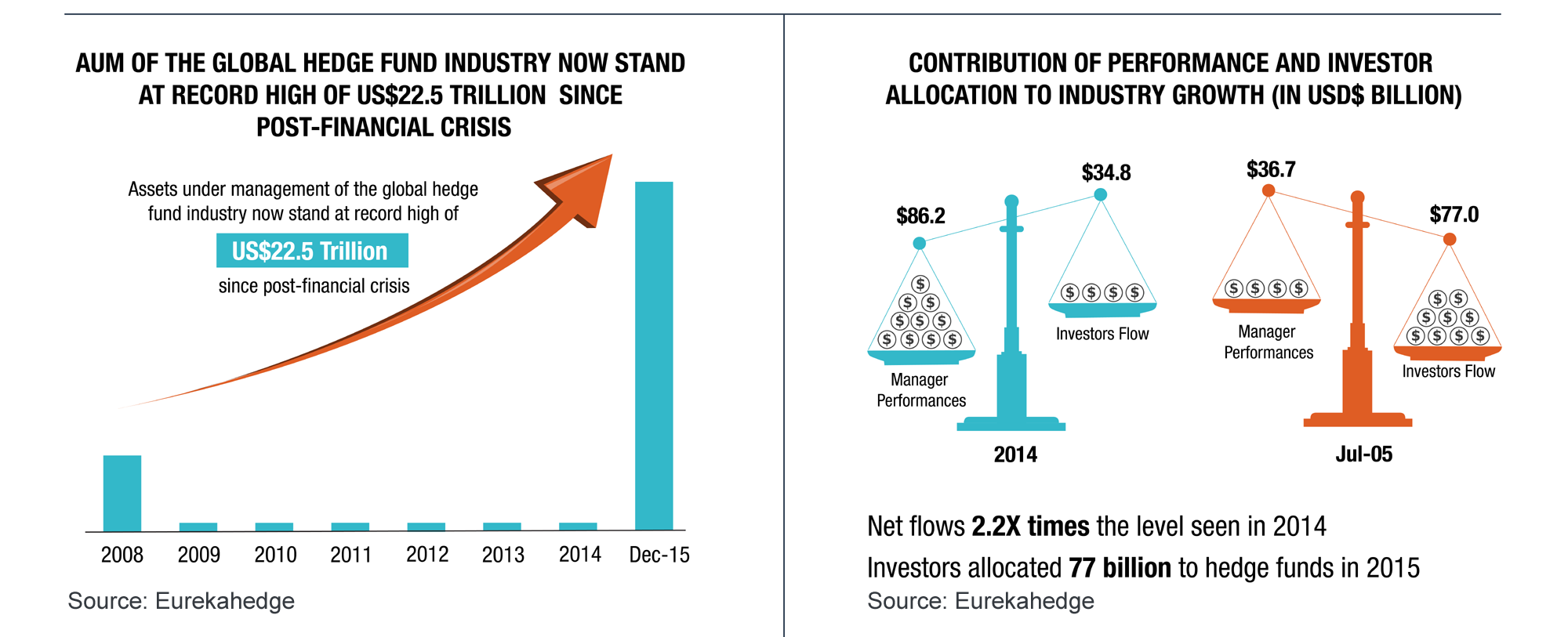 Hedge Funds 2015 Overview Infographic - Hedge fund investor allocations